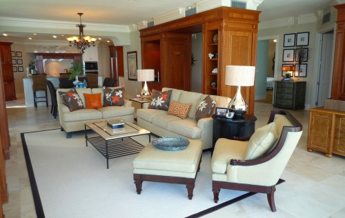 This Is The New Open Space Plan For Living Dining And Kitchen Color Scheme Mostly Neutral With Accents Of Orange Aqua