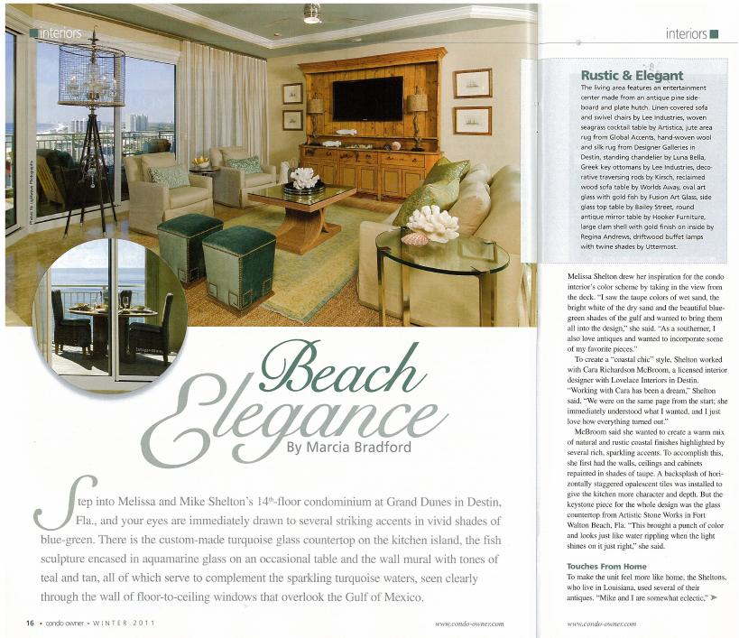 Design On The Cover Of Condo Owner Magazine Interior Design By Cara Mcbroom Emerald Coast