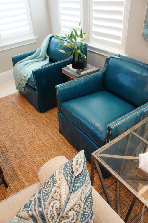 Blue Leather Bernhardt Chairs