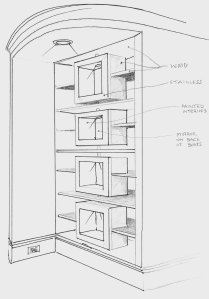 My original design perspective drawing with notes.