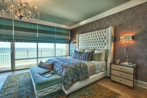 This stately bed is a custom bed by Mario & Marielena.  The bench is by Drexel Heritage and the bedding is all custom.