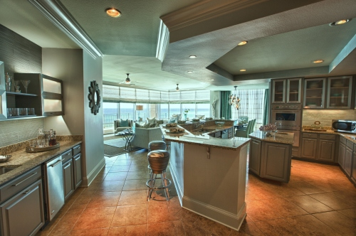 This shows an overall view of our remodeled kitchen and wet bar!