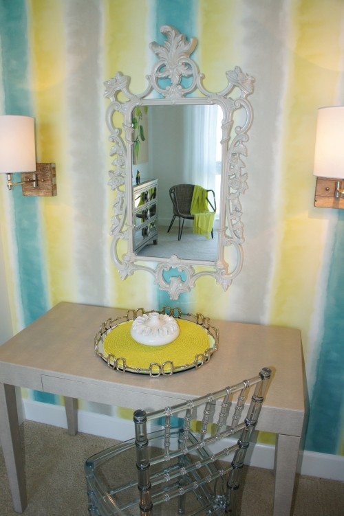 I made this niche special by giving it a refreshing splash of color!  The hombre pattern of the Designers Guild wallpaper looks hand-painted!