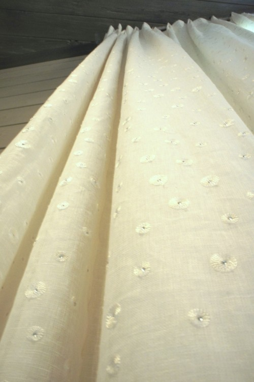 I chose this drape fabric, because it has small rhinestone accents that subtly glint and sparkle when the lights are on!