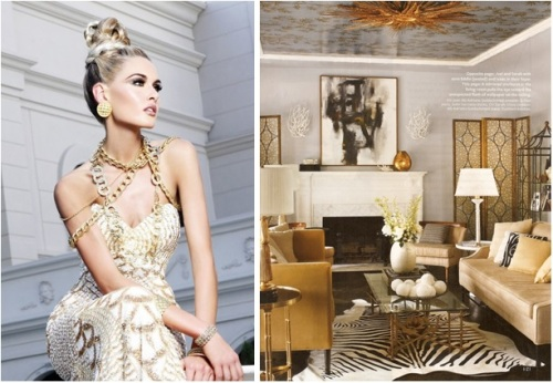 """If """"bling"""" is her thing, our GG may want to try a palette of whites, grays and  creams that allows her jewelry to make a statement!  Try using silks and soft velvets, (like the lining of a jewelry box), then add dramatic gold light fixtures and accessories that sparkle!"""