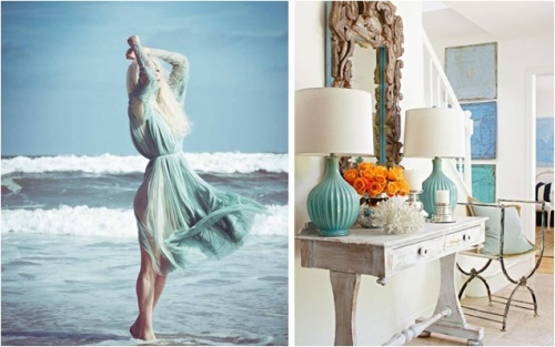 Or, she may want to evoke the feeling of frothy waves, clean air and bright sand.  In this case, she will like white washed woods, driftwood accents, pastel cool colors and crusty white corals and shells!