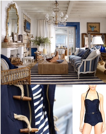 A traditional BG may lean towards a classic blue and white color palette that evokes a nautical feel.  The room below has a light, French Provençal feel, with nods to the coast in its use of color and jute/seagrass.