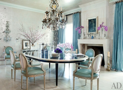 aqua & orchid dining room