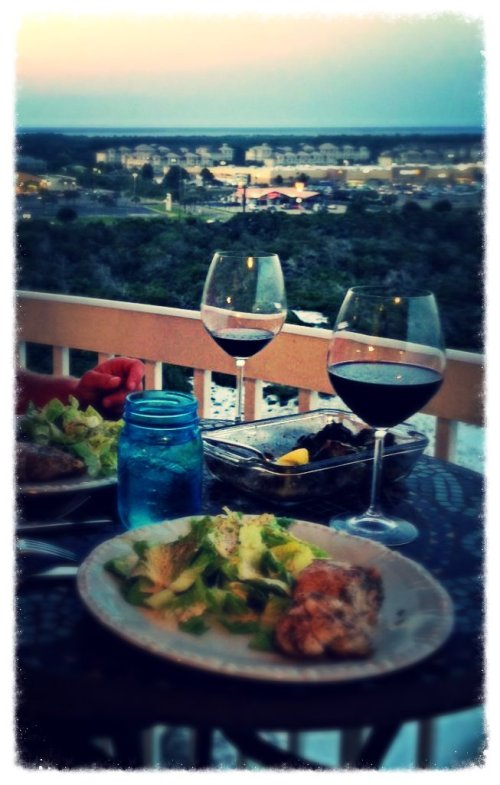 My clients dining on their balcony, the evening of their arrival!