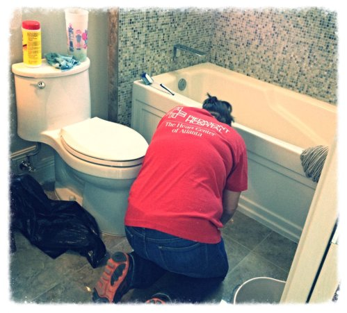 Cleaning up caulk and grout.