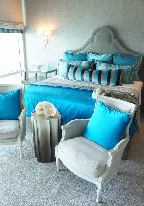 taupe and turquoise master bedroom