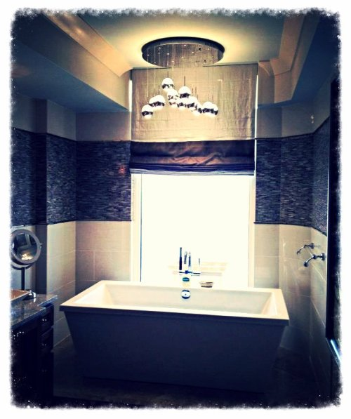 Calgon, take me away!!!  What do you think of our water droplets chandelier?