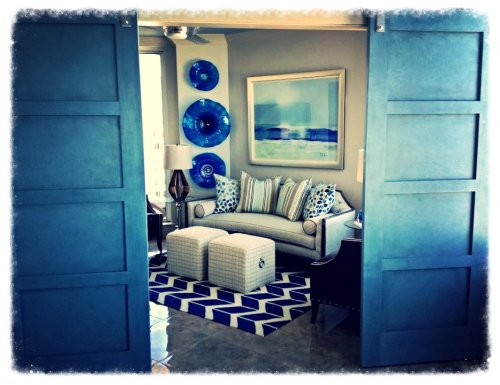 This room turned out so beautiful!  Loving my barn doors, which were faux finished the same as my custom t.v. console.