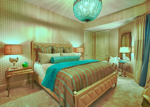 The turquoise Chandelier left subtle shadows that radiated out in a sunburst pattern. This is not always a desired effect--to reduce shadows made by your lamp harp or chandelier, try using frosted bulbs, versus clear.