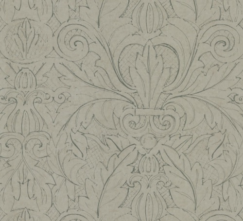 This Kravet wallcovering  (W3078-11) is actually a beautiful line drawing of a large damask pattern.  Absolutely drop-dead gorgeous in person!!  What a great way to give pizazz to your bed wall, without being too busy or bold.  Even the faux finishers admitted a fascination for this paper!