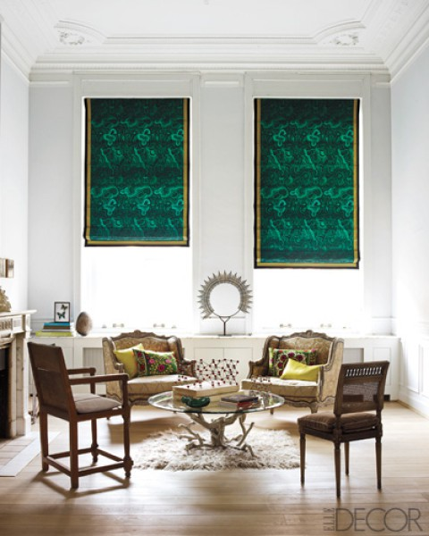 Malachite Roman Shades Elle Decor