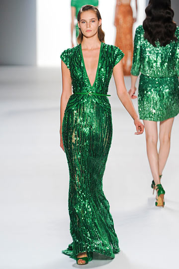 Malachite-inspired sequin dress