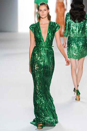 Malachite-inspired sequin dress