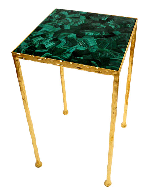 Gold and malachite side table