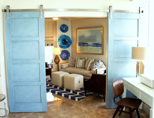 Peeking through the barn doors, is a surprise burst of cobalt!  I wanted this room, which overlooks the bay, to have darker blues, but still blend with the rest of the unit.