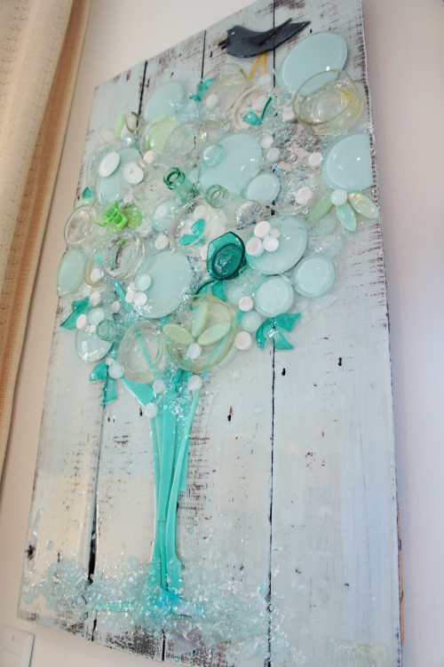 Check out this awesome art I found at Mary Hong's studio! This woman does wonders with glass and wood!