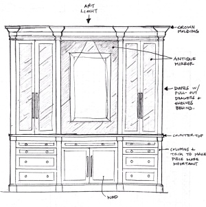 Here is my concept sketch for the new custom dining casepiece, which will dress up the Dining Room!