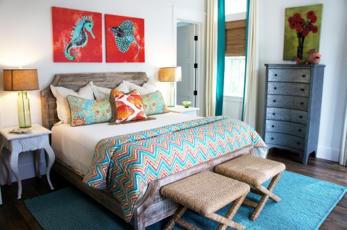 First Floor Bedroom: We brought in glorious orange to complement the turquoise in this room!