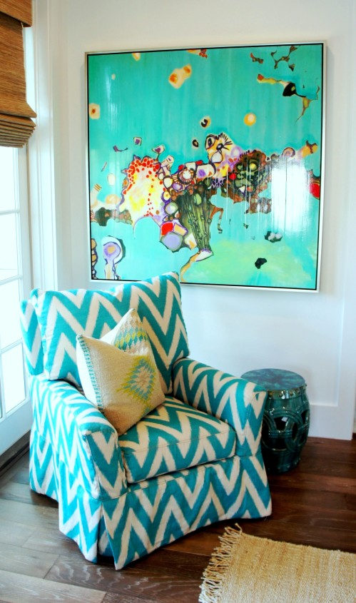 Seating Area in Master: These clients specifically mentioned that they love chevron prints!  Why not go bold, and cover a whole chair?  The results are bright, fun and dynamic!