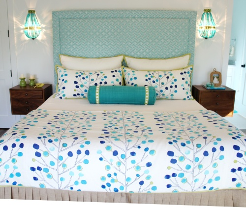 Second Floor Guest Room: This room was centered around this modern tree print fabric! The headboard is covered in a blue Sunbrella mini-print. The green flatweave rug helps to break up all the blue, and the mid-century modern casegoods add a rustic/mod vibe to the room.