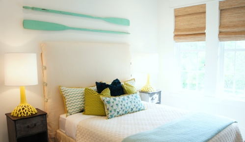 Guest Bedroom #3: This room is a mix of teal, chartreuse and minty aqua.