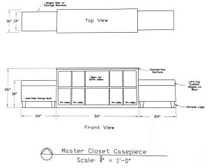 Master Closet center storage concept drawing: