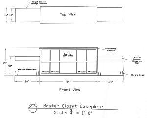 Master Closet center storage concept drawing: