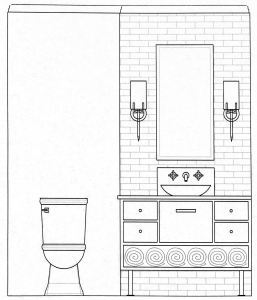 Office Bath Concept Drawing: